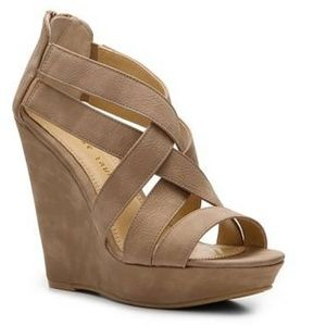 Chinese Laundry Wedge Strappy Heel - Tan